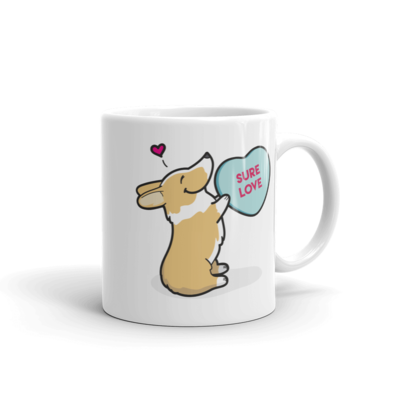 Corgi Candy Heart Mug - Red and White