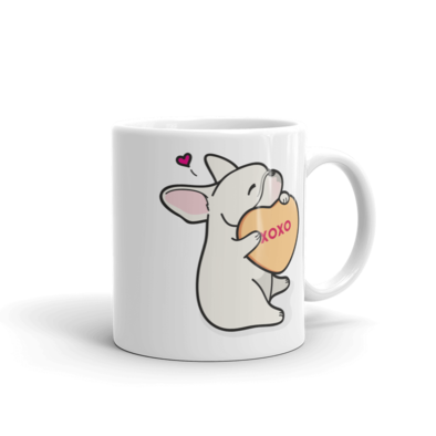 Frenchie Candy Heart Mug - Cream