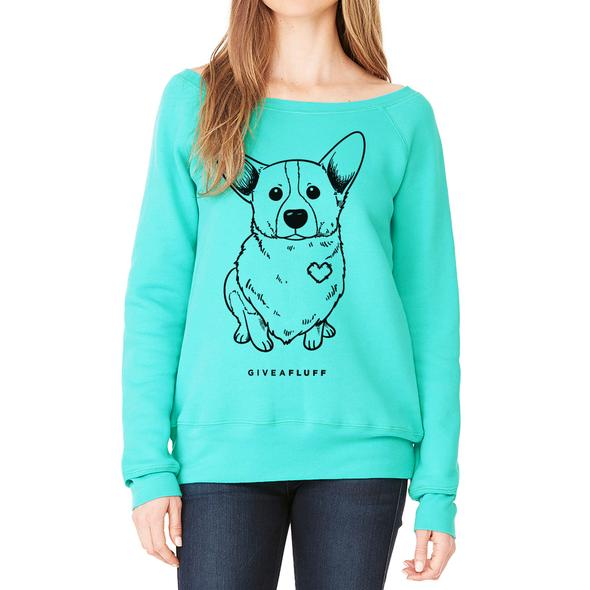 Corgi Patched Hearts Women's Wide Neck Sweatshirt