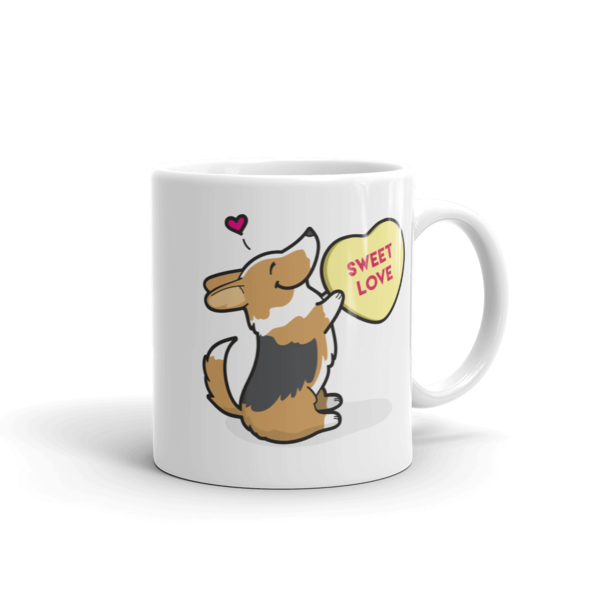 Intl - Corgi Candy Heart Mug - Tri-Color with Tail