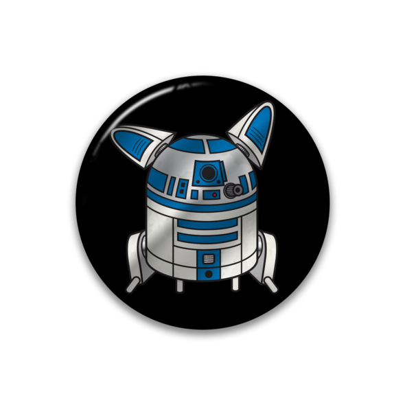 R2DOG2 metallic button.